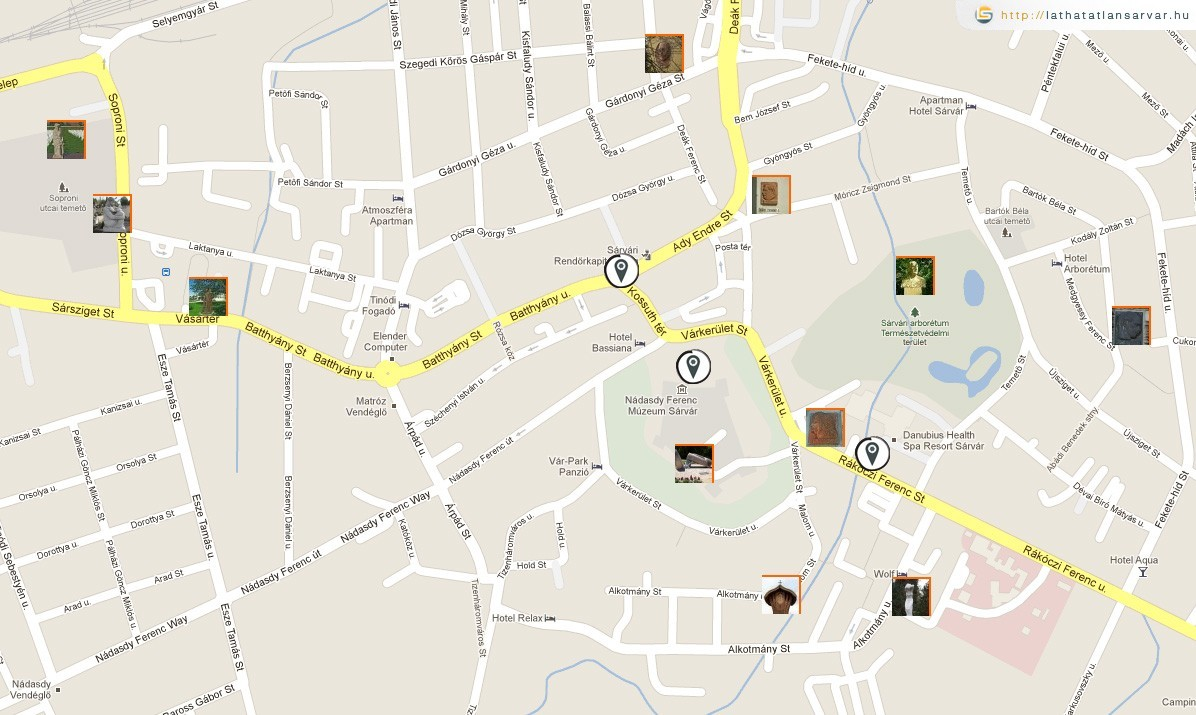 sárvár térkép Ajánljuk: Köztérkép.hu – köztéri alkotások a térképen másképp