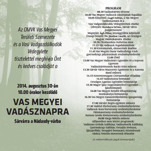 Vas megyei Vadásznap Sárváron